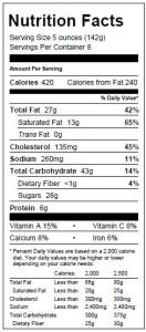 Tiramisu Cake Nutrionals 10.12.15