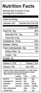 Cranberry Pecan Scone Nutritionals