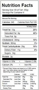 Raspberry Mazurka Tart Nutritionals