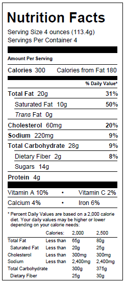 Blueberry Almond Galette Nutritionals